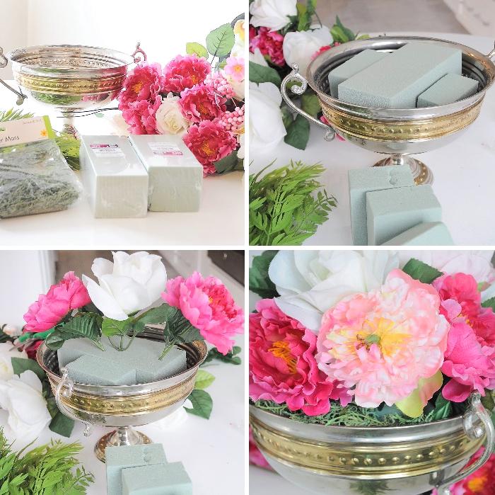 tischdekoration ideen zum selbermachen, metallenes gefäß, rosa und weiße blumen arrangieren
