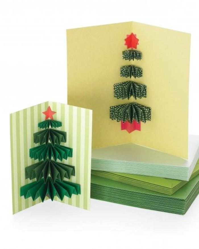 tolle-bastelideen-zum-weihnachten-tolle-weihnachtskarten-mit-papier-weihnachtsbäumen