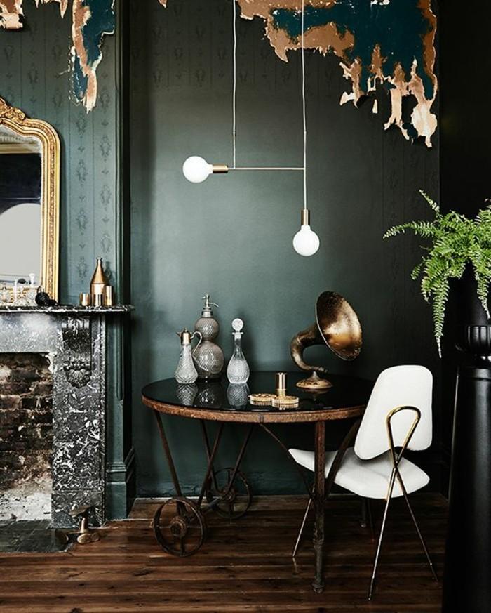 Vintage Interieur Moderne Wandfarben Farbgestaltung Wandfarbe Petrol 45  Super Ideen Für Farbige Wände | Wandfarbe ...