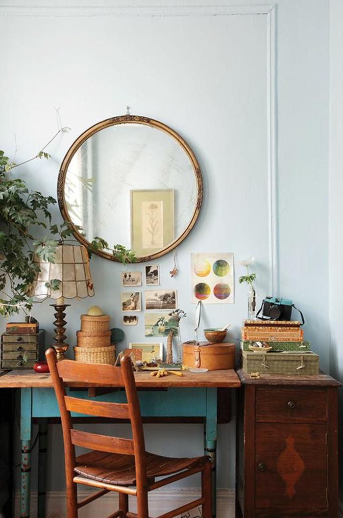 vintage-wohnidee-fürs-Arbeitszimmer-alte-hölzerne-Möbel
