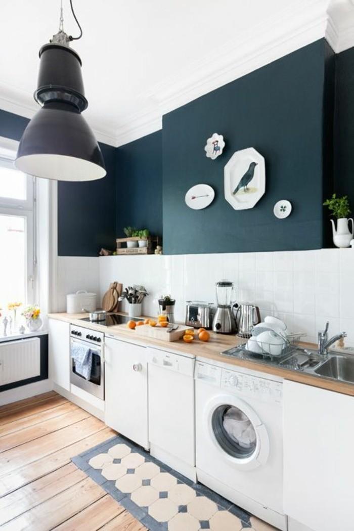 wandgestaltung-küche-moderne-wandfarben-farbige-Wände