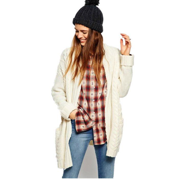 warmer-strickcardigan-strickjacke-beige-kariertes-Hemd-Jeans