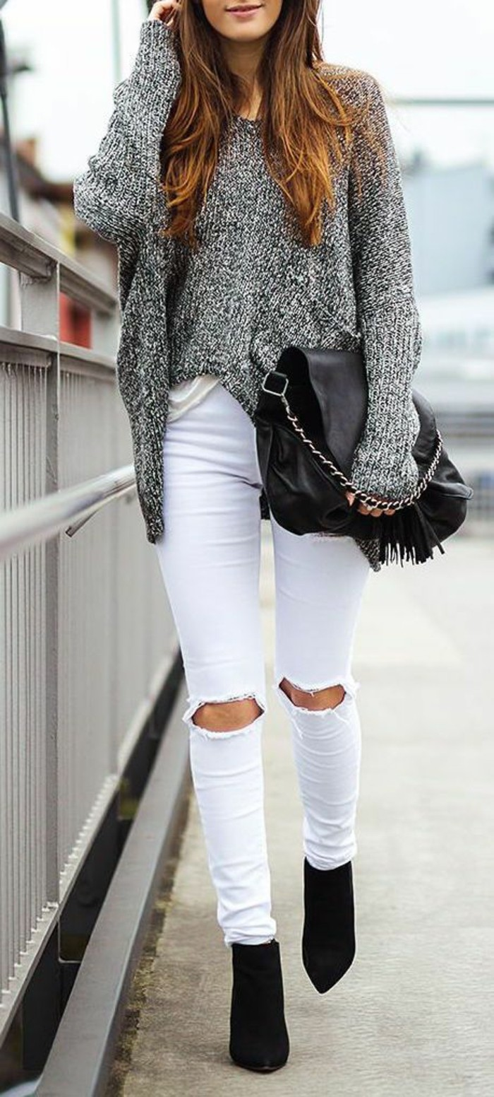 zerrissene jeans 42 styling ideen damit. Black Bedroom Furniture Sets. Home Design Ideas