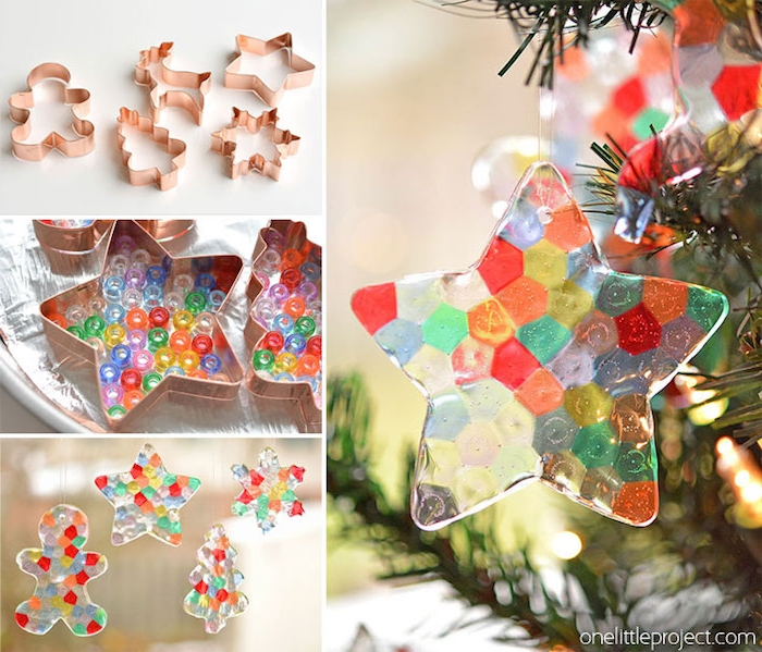 Weihnachtsschmuck selber machen Schritt für Schritt, Perlen aus Kunststoff in Ausstecher schmelzen lassen, weihnachten basteln mit Kindern einfach