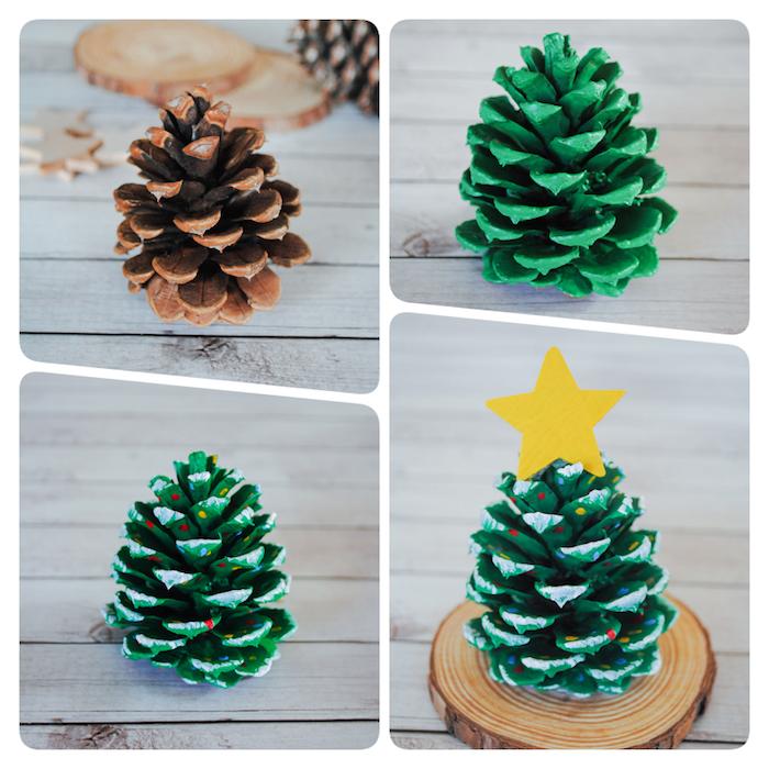 Weihnachtsschmuck mit Kindern basteln, Tannenzapfen grün bemalen, gelben Stern aus Karton kleben, einfache bastelideen Weihnachten
