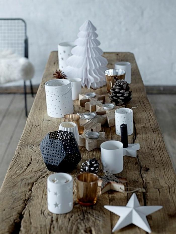 weihnachtliche-tischdeko-originelle-tischdeko-weihnachten-Kerzenhalter-vielfältige-Formen