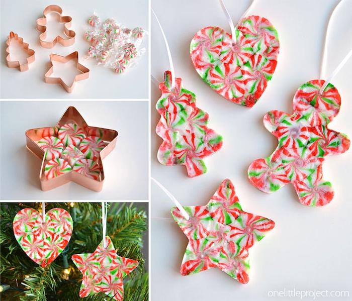 Bonbons in Ausstecher schmelzen lassen, Aufhänger für den Weihnachtsbaum basteln