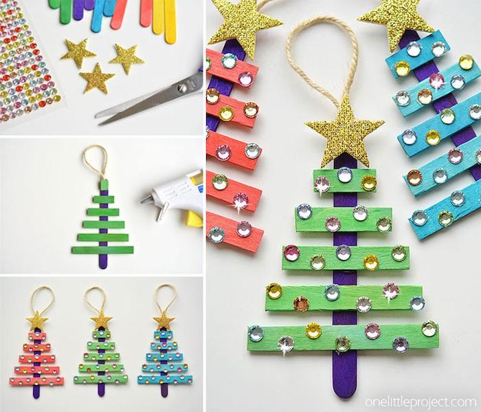 Weihnachtsbaum basteln aus Eisstielen, bunt bemalen, mit Perlen und kleinen Sternen dekorieren, Weihnachtsbasteln mit Kindern