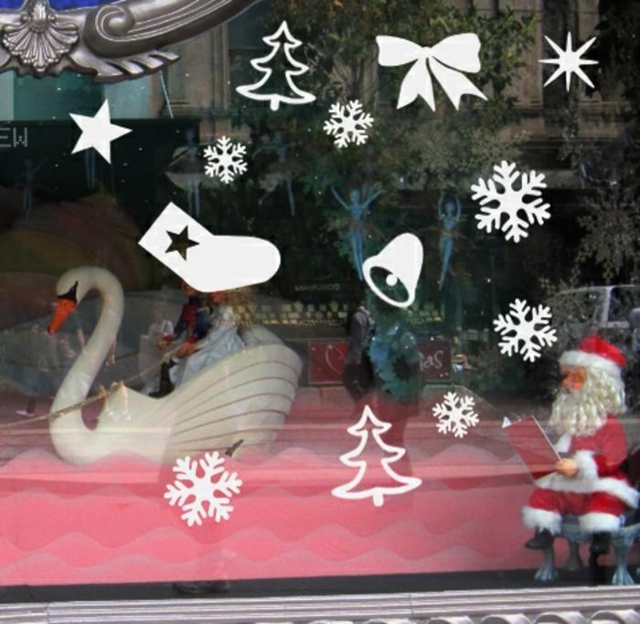 weihnachtsdeko-basteln-fenster-super-interessante-weiße-schneeflocken