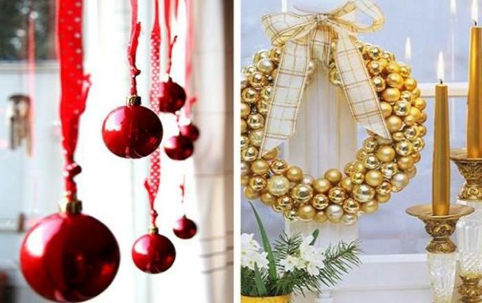 weihnachtsdeko-fenster-zwei-herrliche-fotos-hängende-rote-kugeln