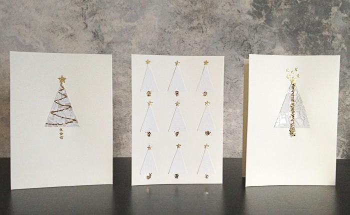 weihnachtsgeschenke-basteln-ideen-weiße-weihnachtskarten-mit-tannenbäumen