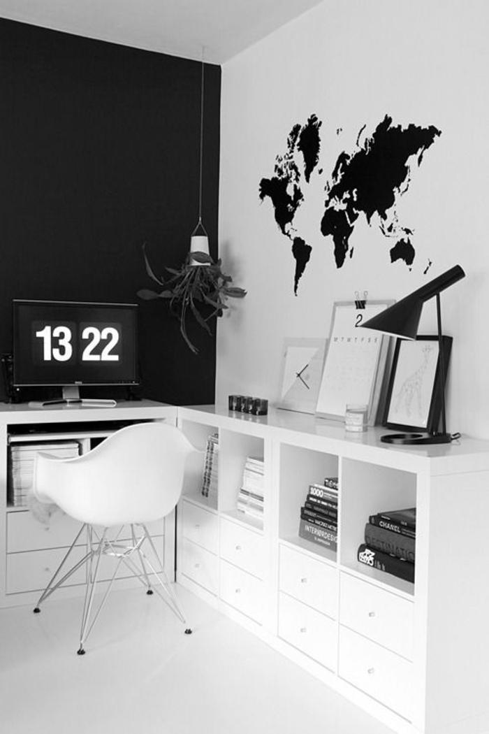 wohnung-einrichten-tipps-fürs-Arbeitszimmer-kontrastierende-Wände-weiße-Möbel