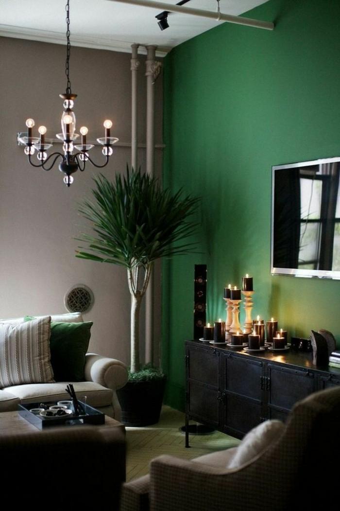 wohnzimmer-wandgestaltung-moderne-wandfarben-grün-braun