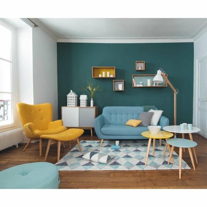 Farbige Wandgestaltung Wohnzimmer Wohndesign