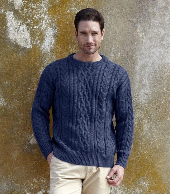 wollpullover-für-Herren-irische-strickmuster-blaue-Farbe