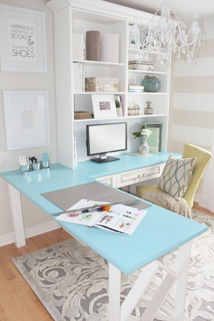 wunderschöne-wohnungsgestaltung-frische-Farben-Arbeitszimmer-Interieur