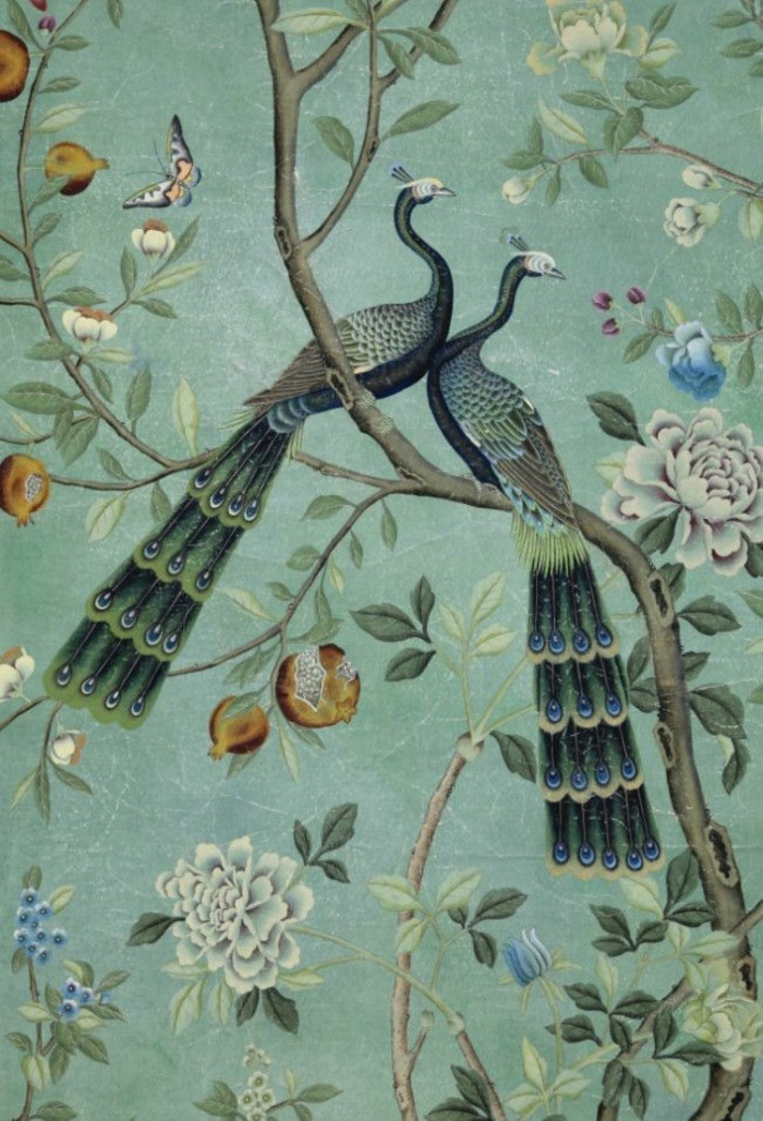 wunderschönes-tapeten-design-Naturbild-Vögel-Blumen-türkise-tapete