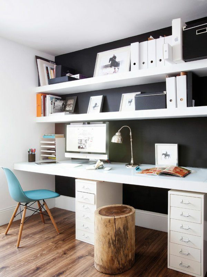 zimmer-einrichten-ideen-Schreibtisch-Regale-Möbel-für-Arbeitszimmer-rustikaler-Hocker