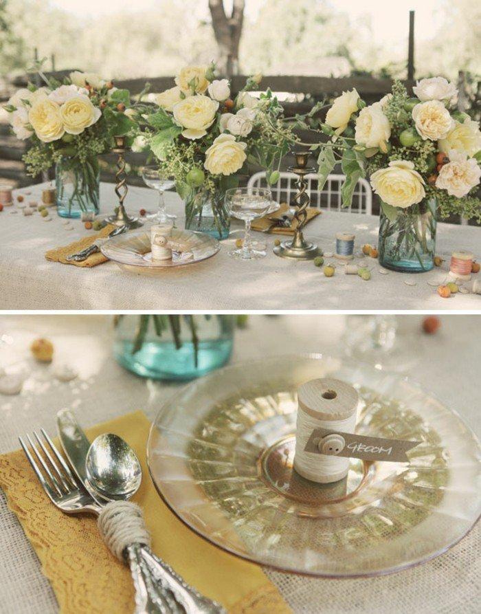 4-Tischdekoration-in-Creme-Farbe-inspiriert-vom-Dornröschen-Märchen