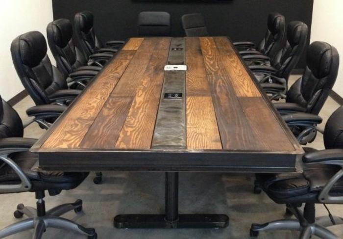 Büromöbel-besprechung stisch-rustikal-holz-metall-rand