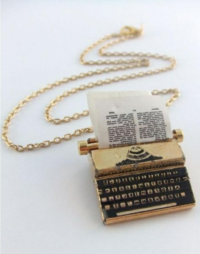 Designerschmuck-originelles-Modell-Kette-Schreibmaschine