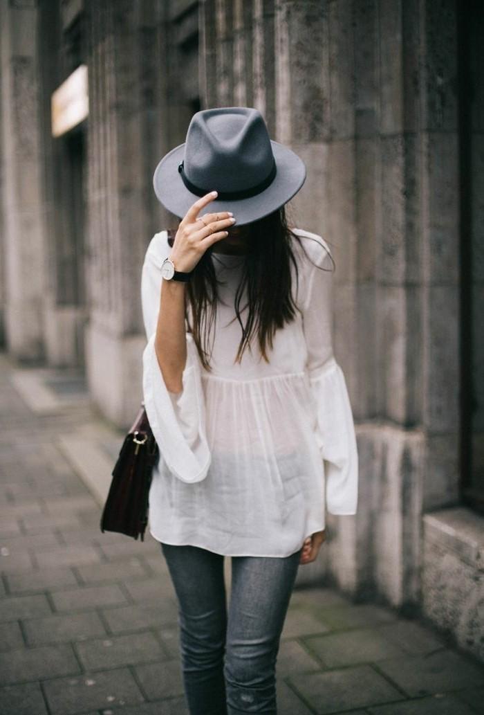 Filzhüte-grau-bluse-sommer-modelle
