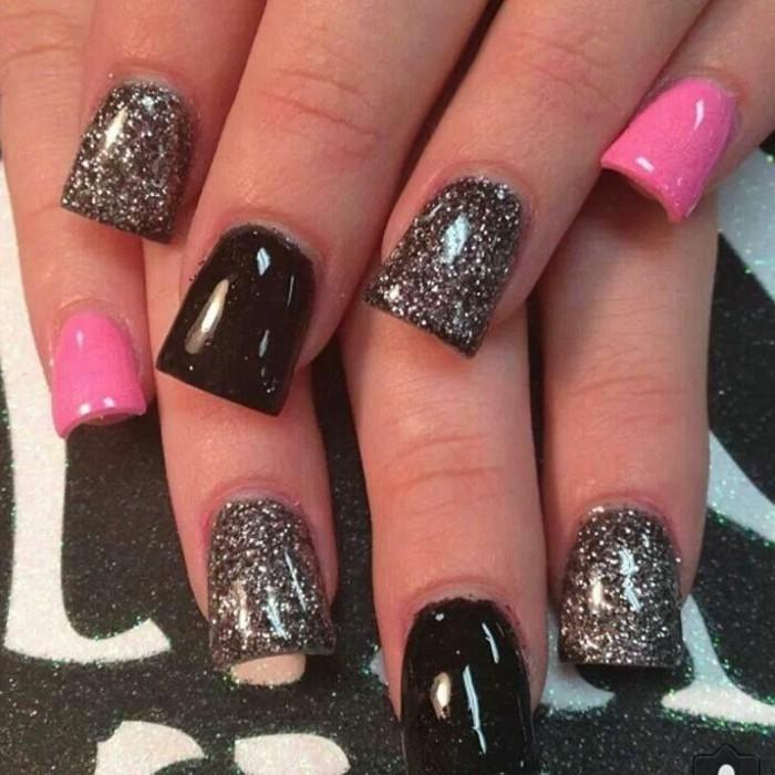 Glitzer-nägel-designs-pink-und-schwarz