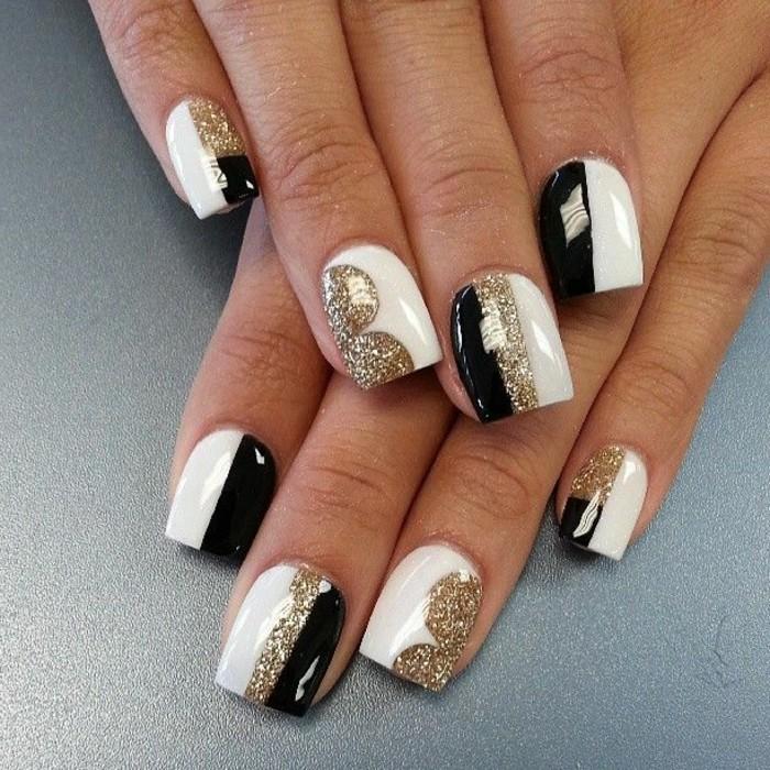 Glitzer-nägel-designs-schwarz-weiß-und-gold