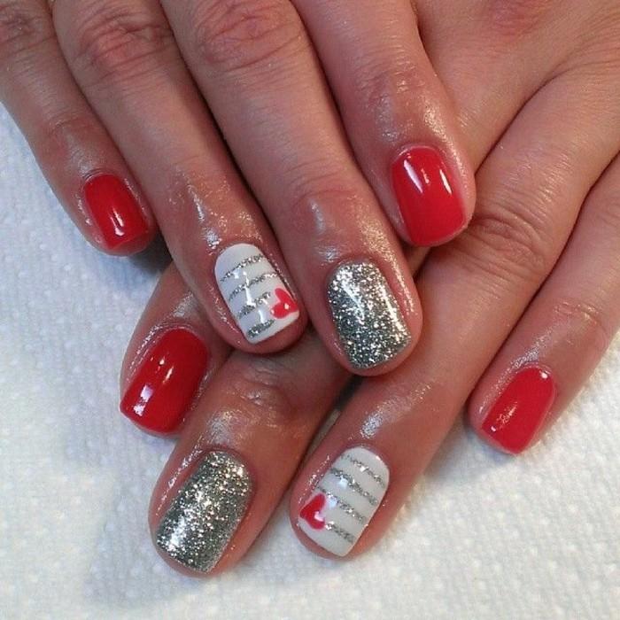 Glitzer-nagellack-ideen-kombinieren-mit-rot