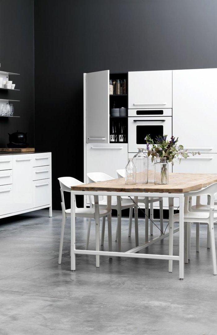 Küche-streichen-Ideen-Wandfarbe-Anthrazit-weiße-Möbel