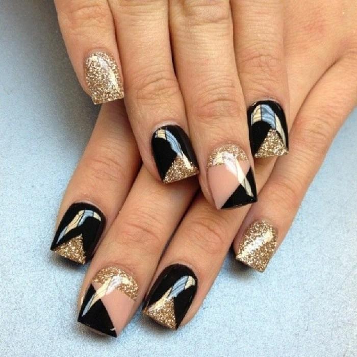 Nagellack-glitzer-gold-und-schwarz