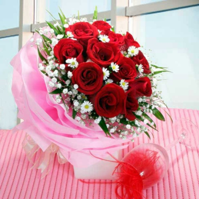 Rosen strauß-rosen-und-süße-rosa-farbe
