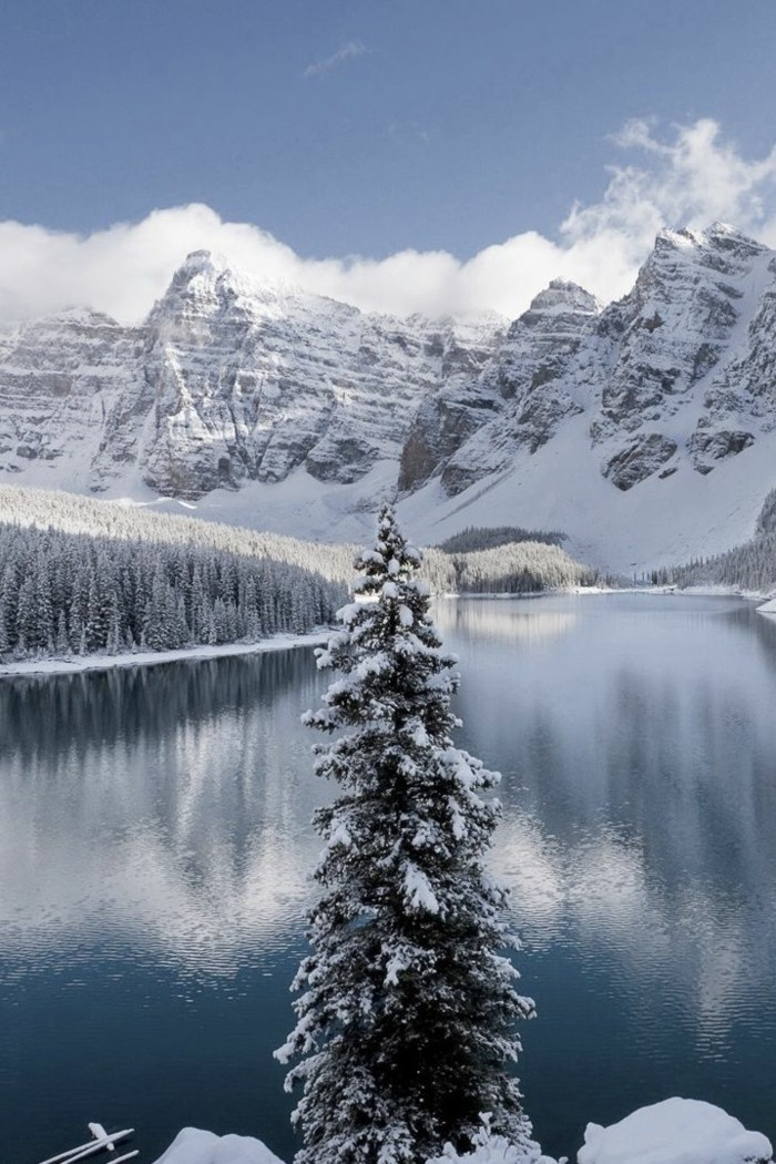WInterbild-von-Colorado-USA-Fluss-Eis-Schnee