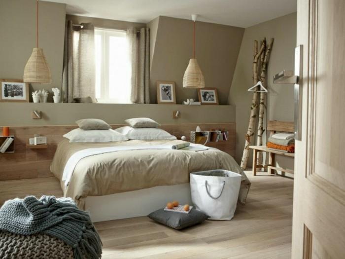 attraktive-wandfarben-ideen-fürs-schlafzimmer-taupe-und-cappuccino-zusammenbringen