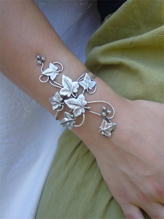 außergewöhnlicher-Schmuck-Damenschmuck-silbernes-Armband-Blätter