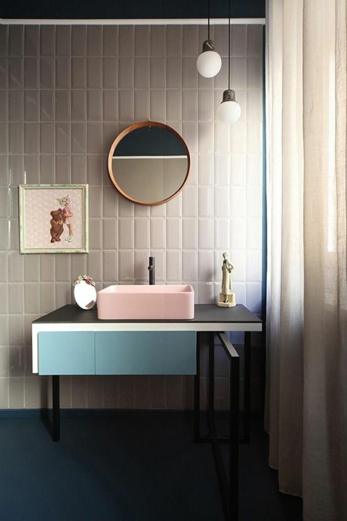 Bad Fliesen Ideen Moderne Gestaltung Runder Spiegel