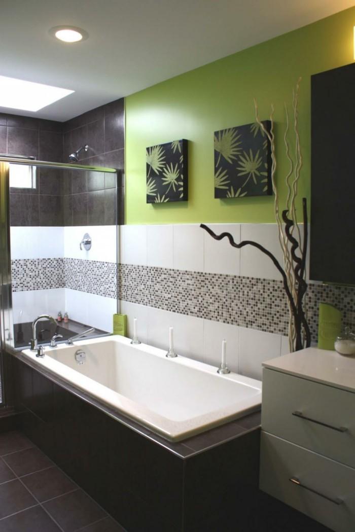 Badezimmereinrichtung Kleines Design Grüne Wand Super Bilder