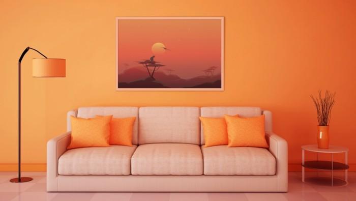 bild-an-der-orange-wand-im-schicken-wohnzimmer