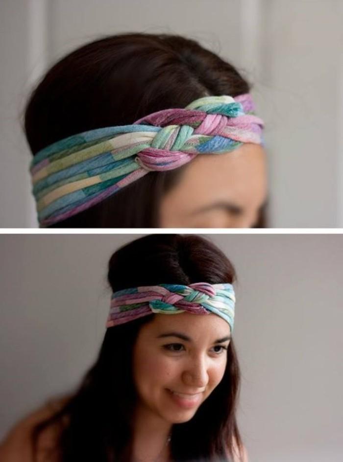 buntes-Band-für-Haare-mit-Zopfen