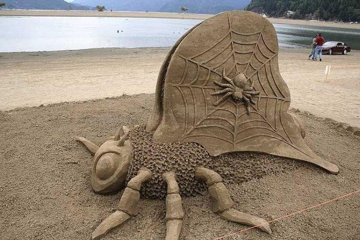 coole-Sandskulptur-Spinne-auf-ihrem-Netz