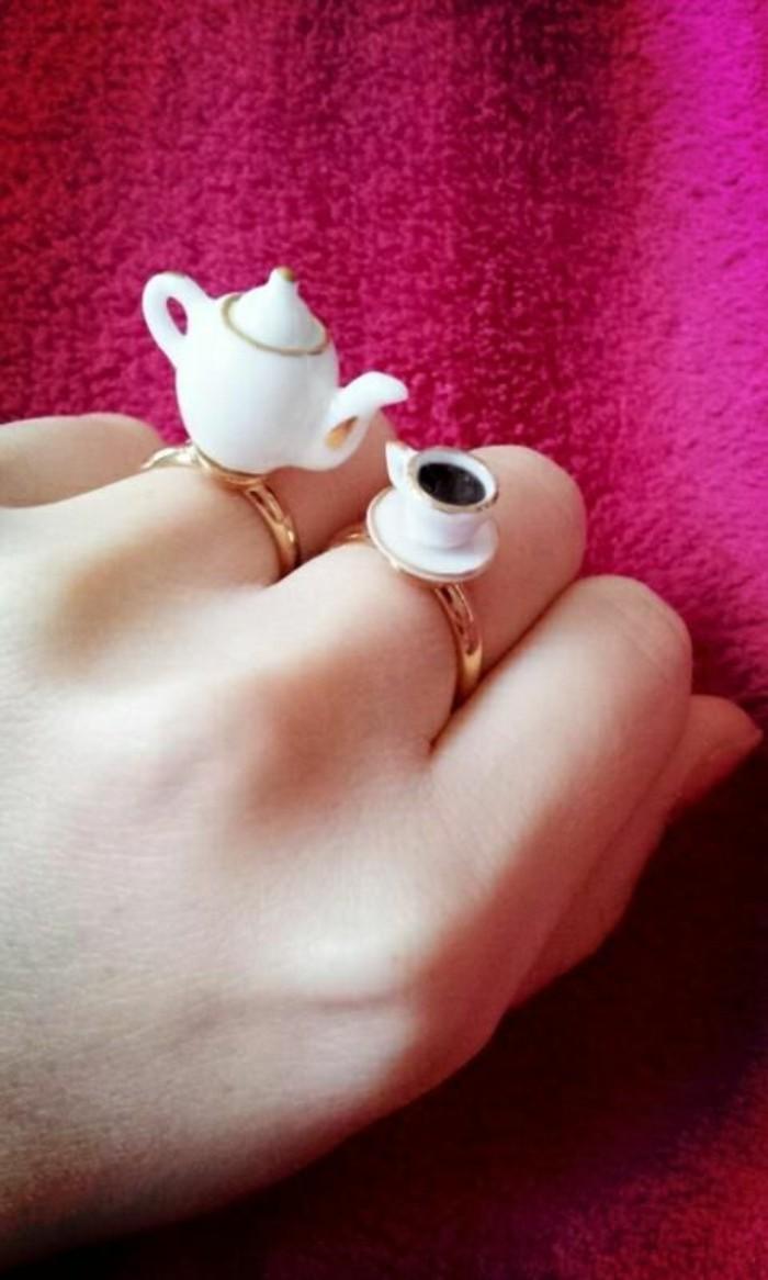 cooles-Modell-Damenring-Tee-Set-Teekanne-Teetasse-originelle-Idee