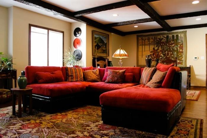 Wohnzimmer Renovieren: 100 Unikale Ideen! - Archzine.net Wohnzimmer Ideen Rote Couch