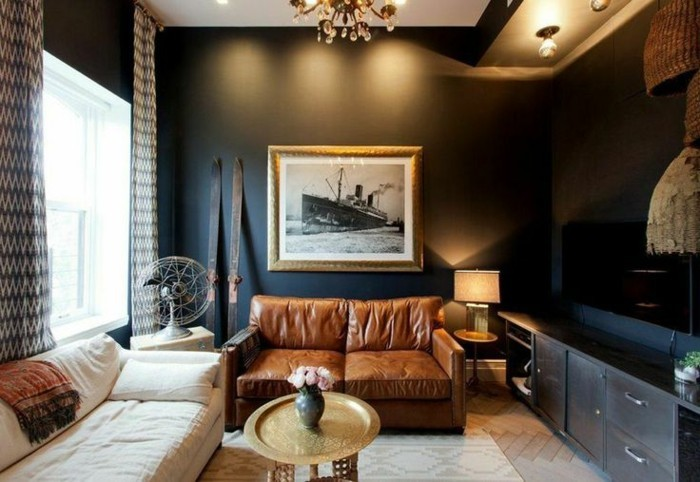 einrichtungsideen-wohnzimmer-braune-farbschemen-elegante-gestaltung