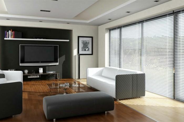 Elegante Jalousien Im Wohnzimmer Tolle Schwarze Akzentwand