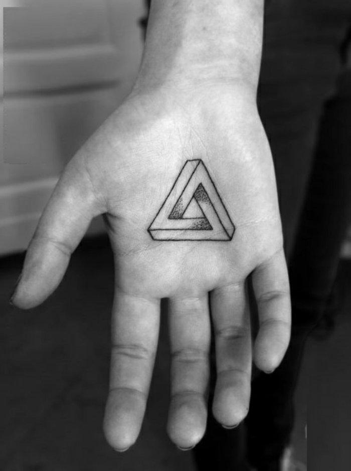 geometrisches-Tattoo-an-der-Handfläche-Dreieck-Darstellung