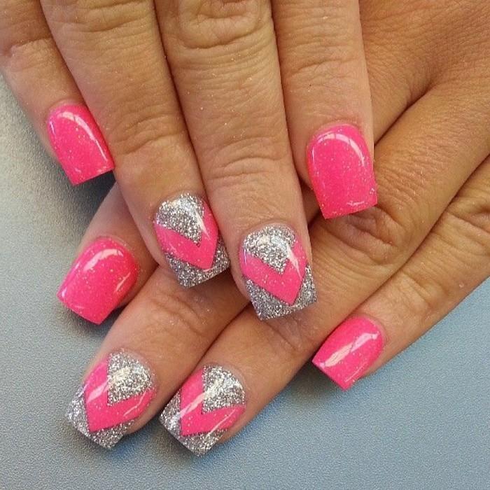 glitzernagellack-pink-und-silber