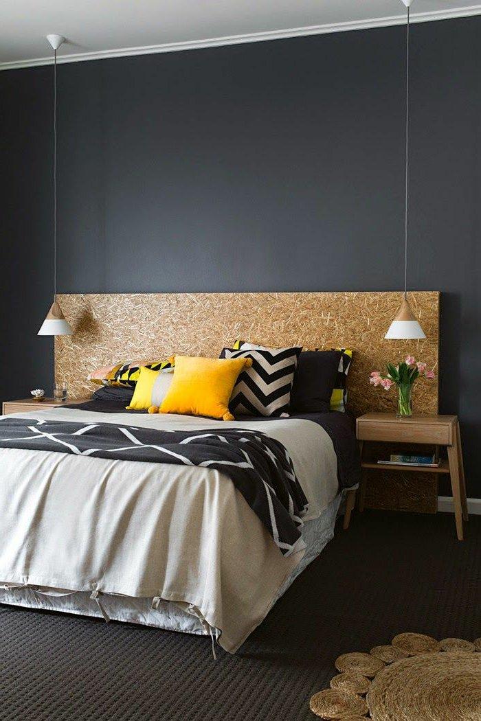 graue-Farbgestaltung-Schlafzimmer-modene-Bettwäsche