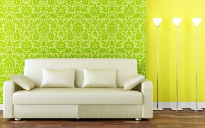 herrliche-tapeten-in-grüner-farbe-modernes-design-aus-bett