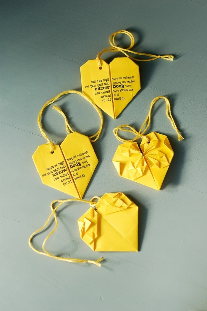 herz-origami-super-schöne-gelbe-gestaltung-lesezeichen-selber-machen