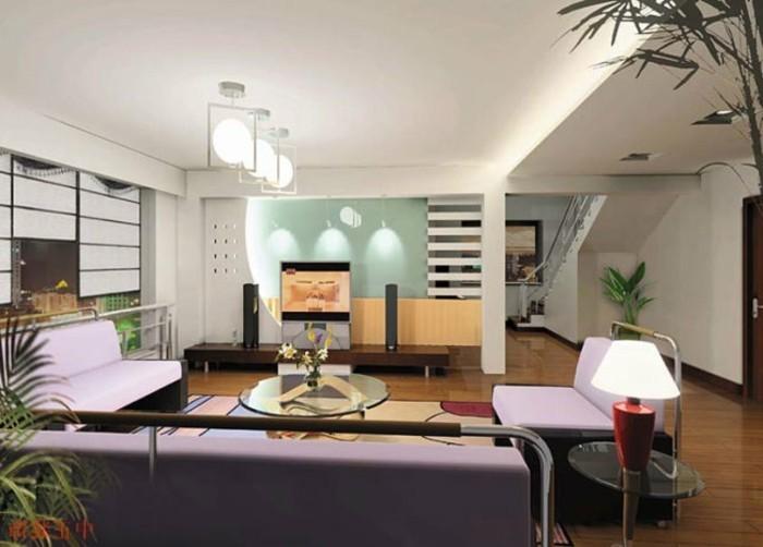 interessante-moderne-dekoration-im-wohnzimmer-schöne-beleuchtung